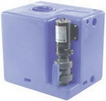 Pis su tankı, maceratorlü. Plastik, koku geçirmez tank ile elektrikli macerator kombine edilmiştir.