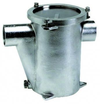 Deniz suyu filtresi. Komple AISI316 paslanmaz çelik. Tempered cam kapaklı. RINA onaylı.