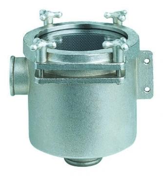 Deniz suyu filtresi. Gövdesi pirinç üzeri nikelaj, filtre elemanı ve diğer aksam paslanmaz çeliktir. RINA onaylıdır.