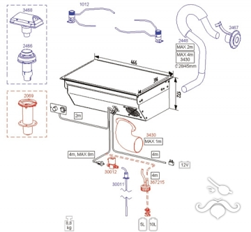3430, 88 DU modeli için havalandırma borusu